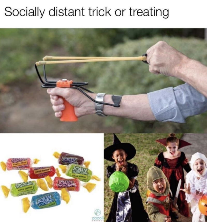 socially distant trick or treating meme