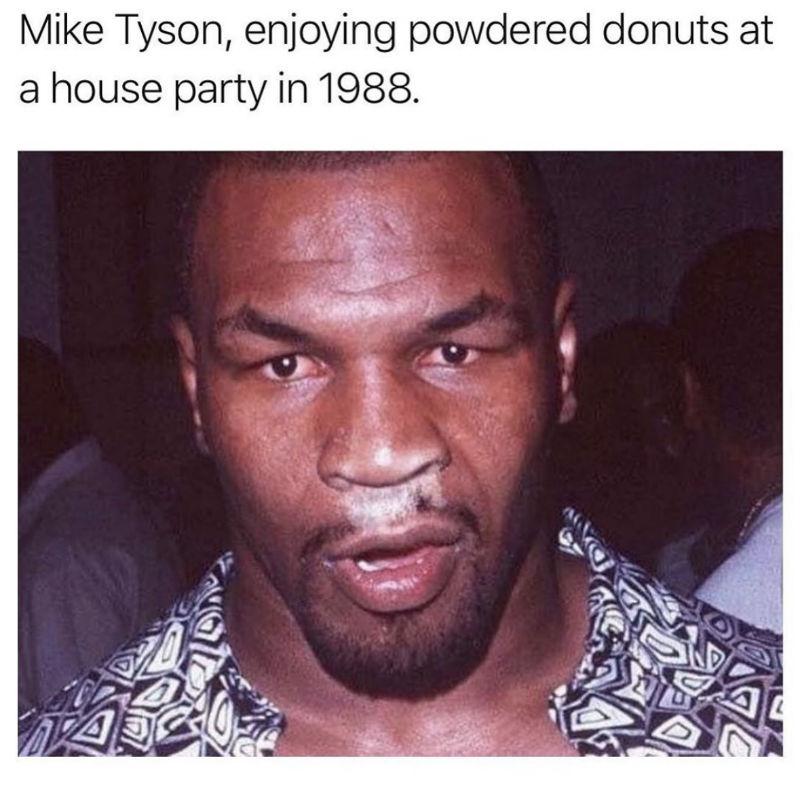 mike tyson enjoying powered donuts