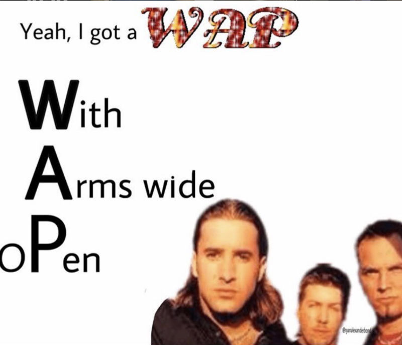 yeah i got wap with arms wide open meme