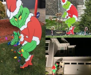 Grinch Stealing Christmas Lights Cutout – Decorate your house in 5 minutes with this Grinch cutout!