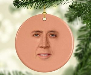 St. Nicolas Christmas Ornament – This Nicolas Cage Christmas Ornament will be the hit of the Christmas!
