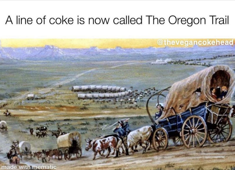 a line of coke is now called the oregon trail