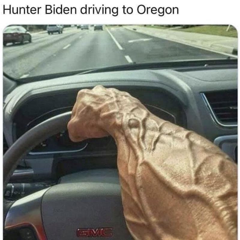 hunter biden driving to oregon meme