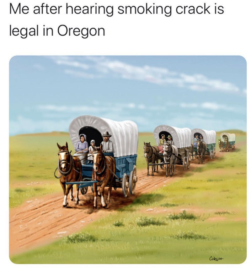 me after hearing smoking crack is legal in oregon