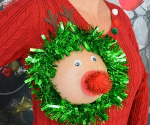 Sexy Ugly Christmas Sweater – The hole is for your actual breast, IT IS NOT PLASTIC!