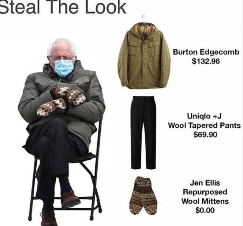 bernie sanders steal the look meme