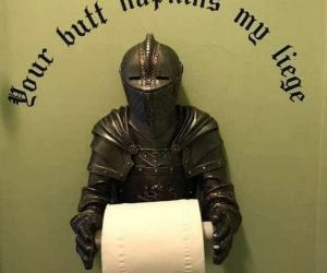 Knight Toilet Paper Holder –Put a knight next to your throne!