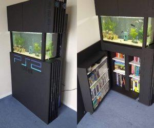 PS2 Fish Tank – This PS2 Fish Tank makes a wonderful aquarium/bookshelf in your gaming room!