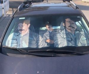 The Office Sun Shade –You and I are going to sneak inside, pretend that we are warehouse workers, and we will silly string the bejesus out of the place!
