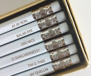 Key & Peele Mispronounced Names Pencil –This collection of #2 hex pencils are engraved with 6 of the best-mispronounced names from the classic Comedy Central Key & Peele.
