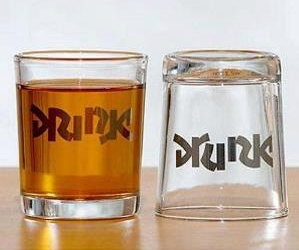 These cool shot glasses feature a very special ambigram (read as one or more words not only in its form as presented, but also from another viewpoint) etched into the