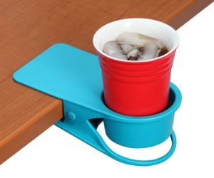 This portable cupholder by Drinklip takes the stress out of finding a suitable place to put your drink,