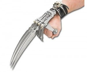 Nobody messes with a guy wearing a skull and bones triblade hand claw… nobody.
