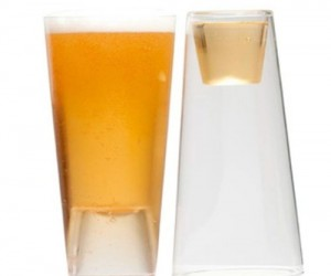 Enjoy a beer on one end and a shot on the other with the Shot in the Pint drinking glasses