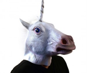 Unicorn Head Mask – Scare the crap out of your friends, family, neighbors, coworkers, or just random strangers, with this creepy looking unicorn head mask.