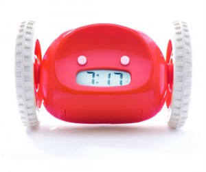 The clocky alarm clock on wheels comes in variety of cool colors and actually runs away once the alarm clock goes off, forcing you to get out of bed and