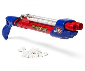 More like a marshmallow machine gun this baby can shoot up to 50 marshmallows rapid fire at a time