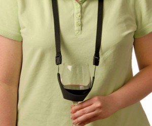 The no hands wine holder – For those lonely nights by the fire when you need a glass of wine and two free hands.