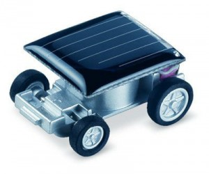Great for educational purposes this tiny car is about the size of a quarter and completely powered by the sun!