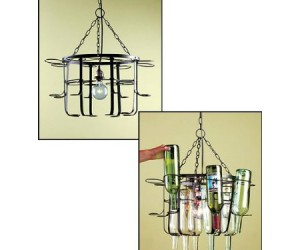 Wine Bottle Chandelier – You'll be swinging from the chandeliers after consuming all the wine you need to make this thing work!