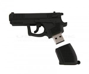 Gun Shaped USB Flash Drive – Shoot all that information straight into your computer through the USB ports!