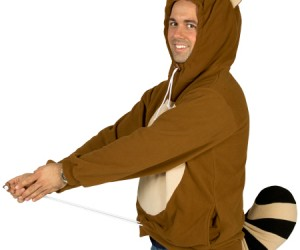 Mario Tanooki Hoodie – You may not be able to touch a floating leaf to make the Tanooki costume magically appear on you like Mario, but buying the hoodie should