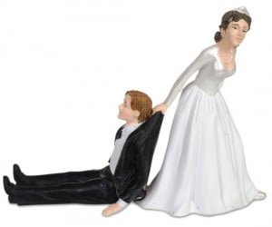 Reluctant Groom Wedding Cake Topper – Display how you really feel on your wedding day at the top of the cake.