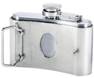 Belt Buckle Flask – Bring a flask anywhere you happen to be wearing pants.