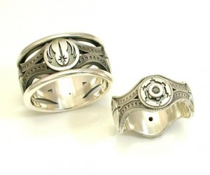 Star Wars Wedding Ring Set – I would say to show your fiancé how much you love her, but she already knows.