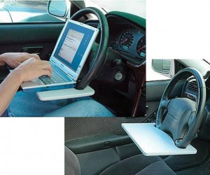 Steering Wheel Laptop Desk – Just don't use it while driving.