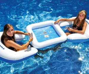 Floating Card Table With Waterproof Cards – A game of strip poker would be really short in a pool.
