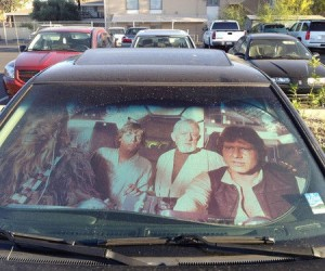 Millennium Falcon Sunshade – Now you can imagine your 94′ Honda Civic is barreling through space at warp speed.
