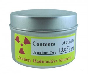 Uranium Ore in a can. No more buying it from Libyans in mall parking lots anymore!