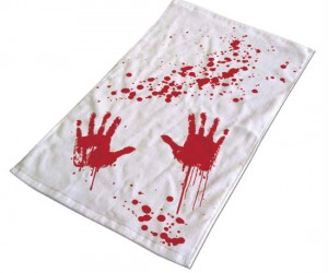 Bloody Hand Bath Towel – It'll go great with your Bloody Hand Shower Curtain, and Bloody Bath Rug