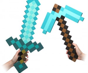 Minecraft Foam Diamond Sword and Pickaxe – Unfortunately they won't bash through solid rock, but they are good for more than 1562 uses.