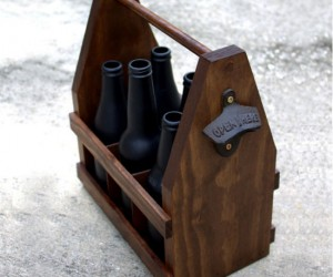 Wooden Beer Tote Caddy With Bottle Opener – This handmade wooden tote is perfect carrying your own home brewed beers.