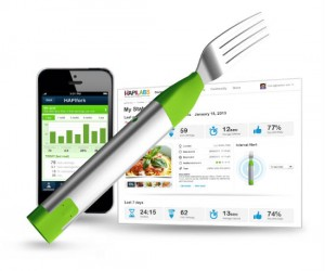 That's right, a fork that connects to your smartphone or laptop to keep track of your eating habits and to tell you when you're eating too much!