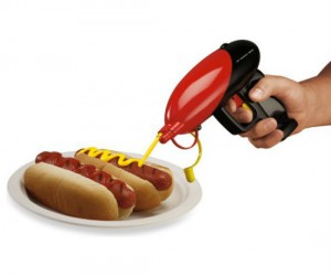 Shoot your hot dog with ketchup, mustard, or both at the same time!