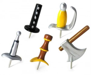 Medieval Weapons Push Pins – How knights and kings held up notes in medieval times!