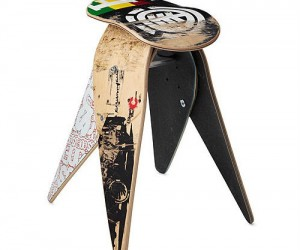 Recycled Skateboard Stool – A great place to sit and rest after a long day at the skate park.
