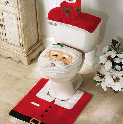 santa toilet seat and rug set