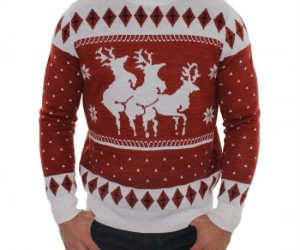 Reindeer Menage A Trois Ugly Christmas Sweater – Nothing says ugly Christmas sweater like a reindeer threesome.