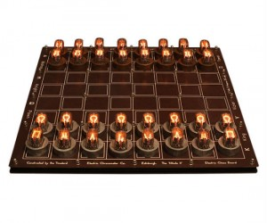 Light up your chess game literally with light up nixie tube chess pieces!