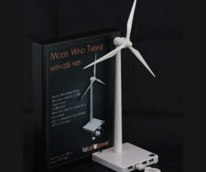It works pretty much the exact opposite of a normal wind turbine by using power instead of providing it, but at least is has extra USB ports!