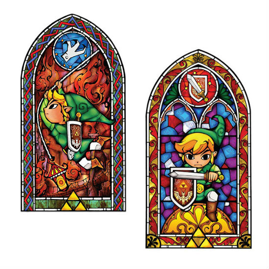 legend of zelda stained glass window decal