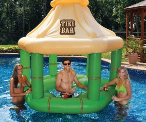 Any pool can feel like a tropical paradise with a floating tiki bar!