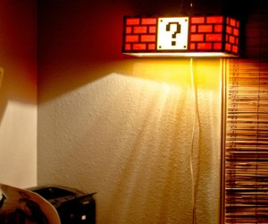 Mario question box block lamp – too bad you don't hit the question box to turn it on and off, but still cool nonetheless.