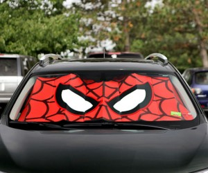 Spiderman's mask will help to protect your car against those deadly UV rays