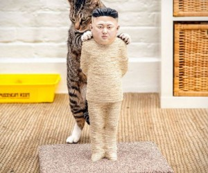 An incredibly life-like cat scratching post modeled after Kim Jong-Un for your censorship-hating cat to scratch!