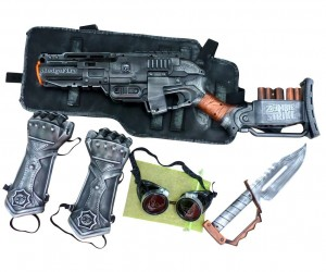Steampunk Nerf gun, armor, goggles, and knife set!